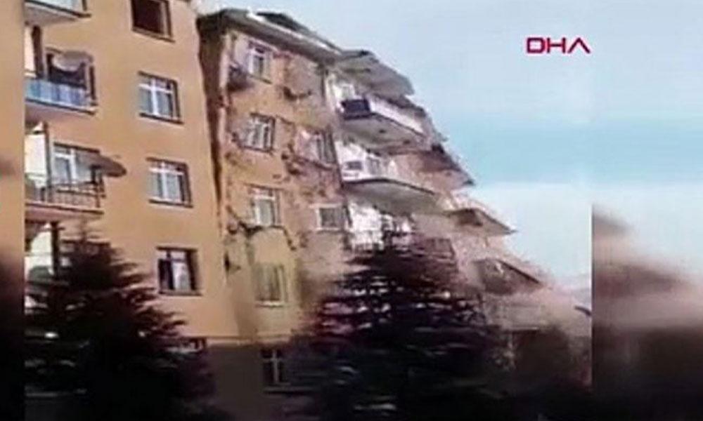 Elazığ'daki deprem sonrası yıkılan bina böyle görüntülendi