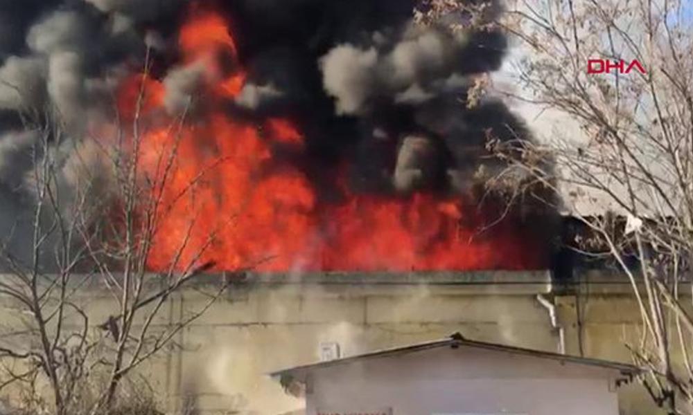 Kimya fabrikası alev alev yanıyor