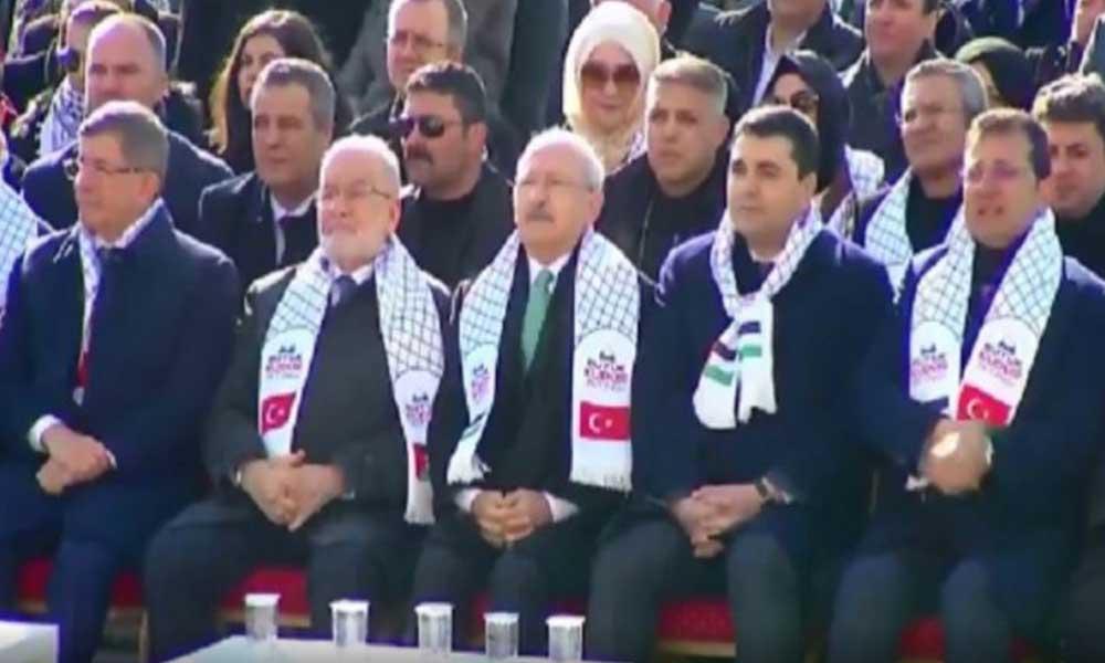 Karamollaoğlu, Kılıçdaroğlu, İmamoğlu, ve Davutoğlu Kudüs mitinginde