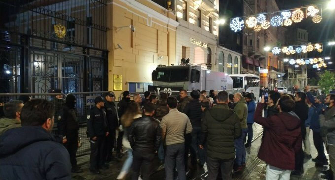 Şehit haberleri sonrası İstanbul'da Rusya Başkonsolosluğu önünde protesto