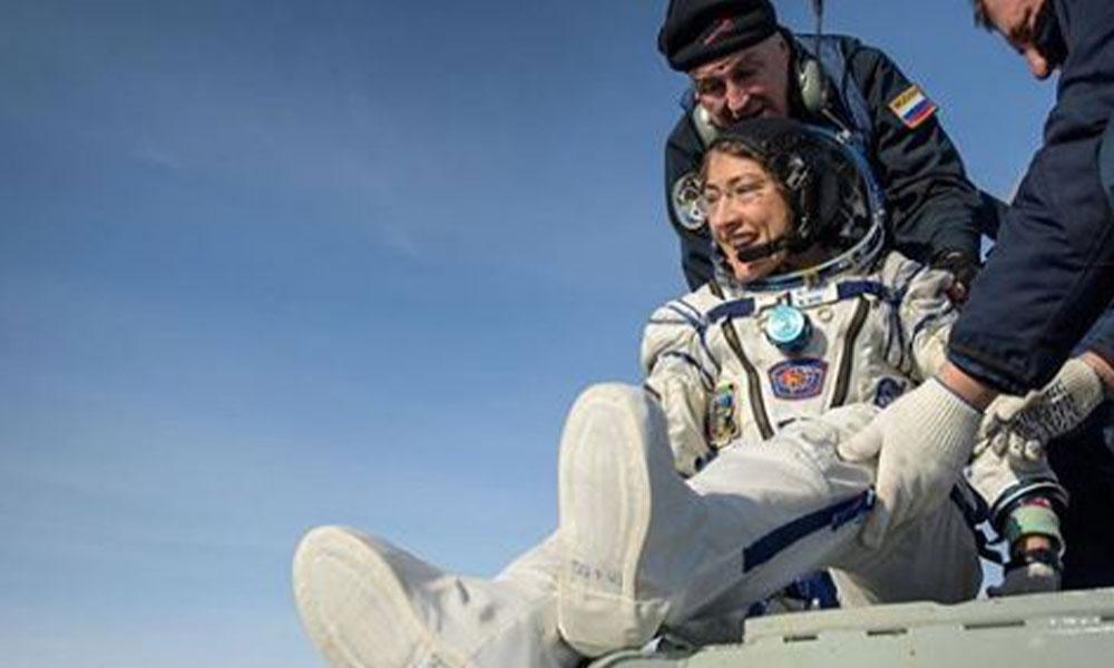 Rekor kıran NASA astronotu Christina Koch Dünya'ya döndü