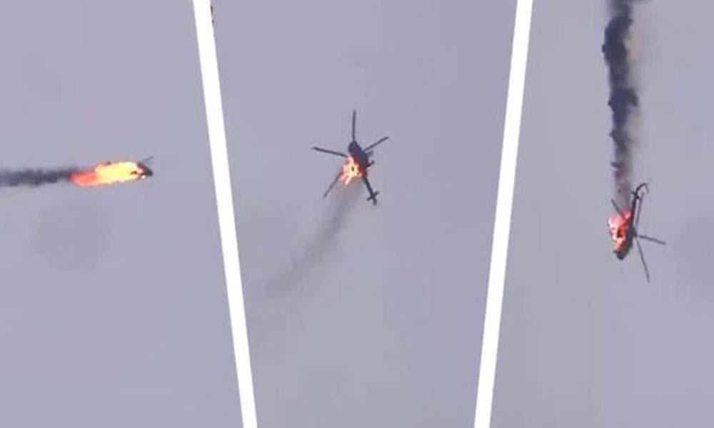 Suriye ordusuna ait helikopterin düşürülme anı kamerada