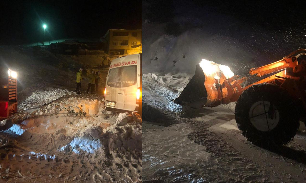 Trabzon-Gümüşhane karayolu'na çığ düştü, yol kapandı