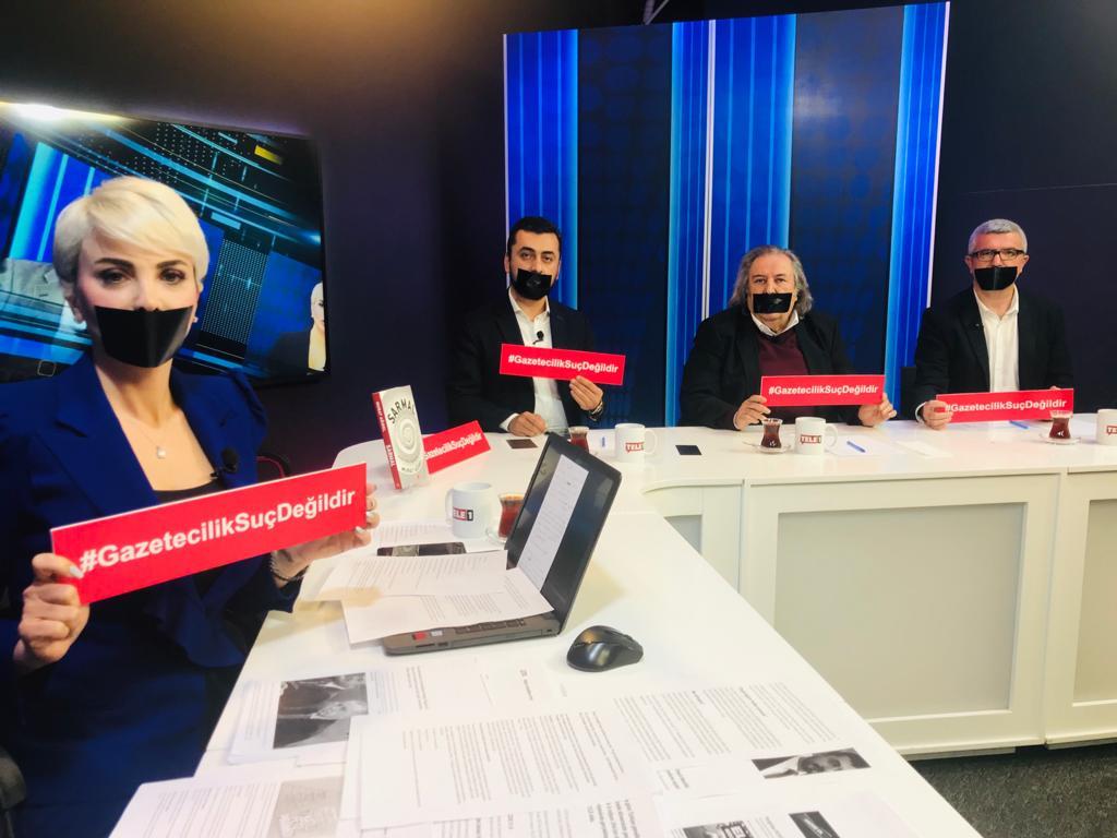 """Tele 1 ekranlarında tutuklu gazeteciler için sessiz protesto: """"Gazetecilik suç değildir!"""""""