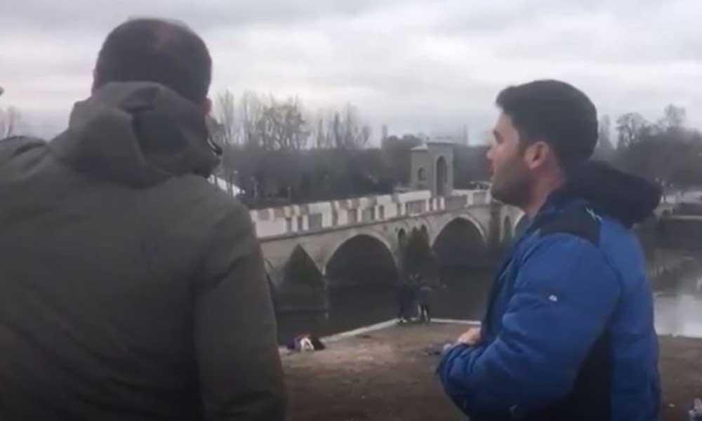 A Haber muhabiri bir göçmeni Meriç Nehri'nden geçmeye ikna etmeye çalıştı! O anlar kameraya yansıdı
