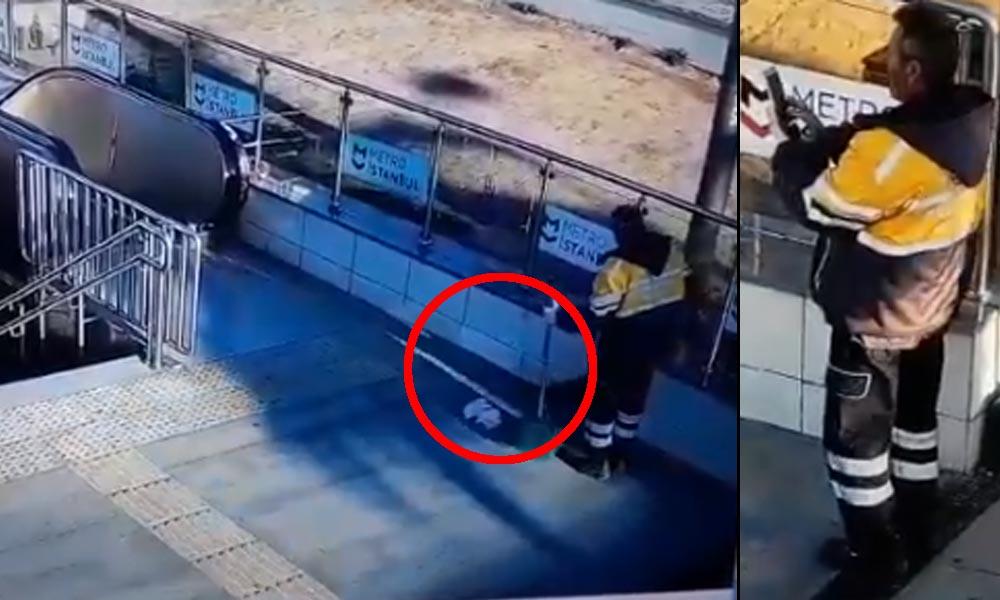 İstanbul metrosunda akıl almaz görüntü! AKP'li belediye çalışanı pes dedirtti