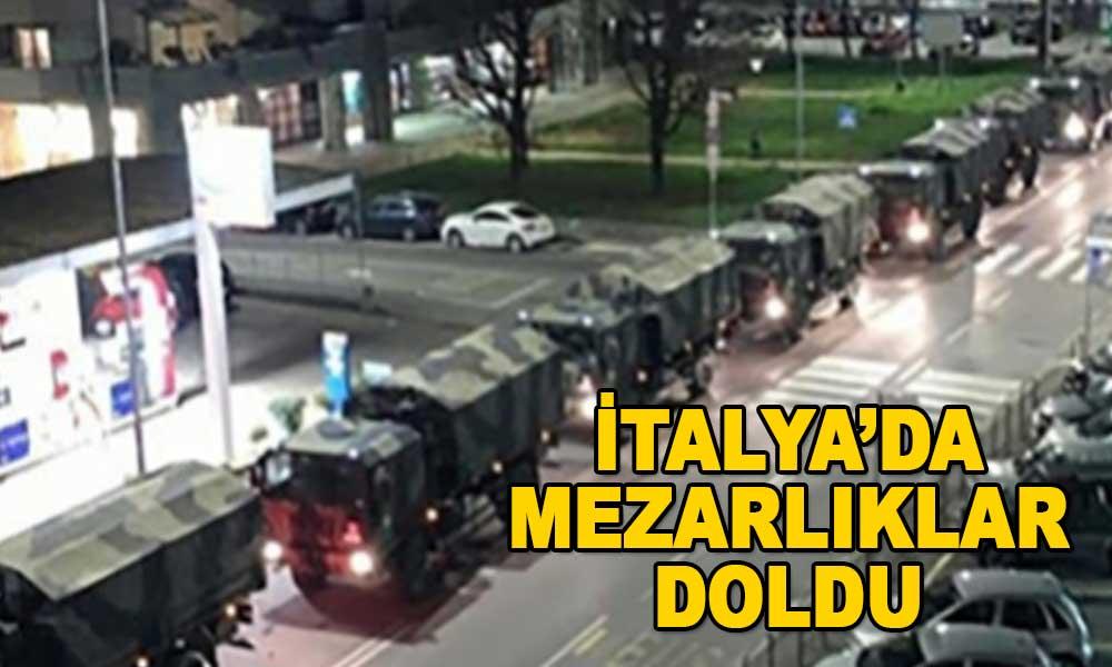 Askeri taşıtlar Bergamo'ya tabut götürüyor