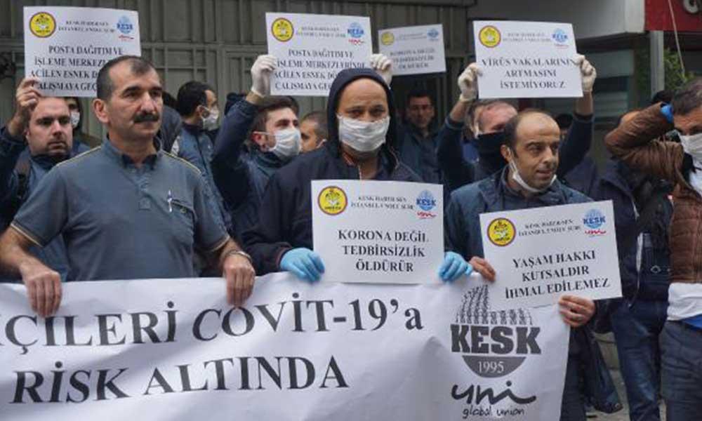 PTT çalışanlarından koronavirüs protestosu
