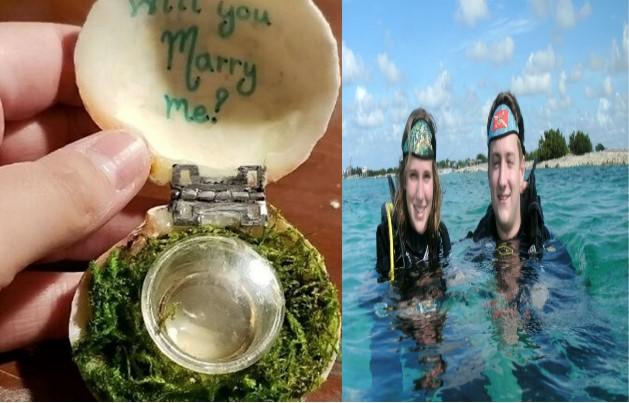 Karayip Denizi'nde suyun 30 metre altında evlilik teklifi