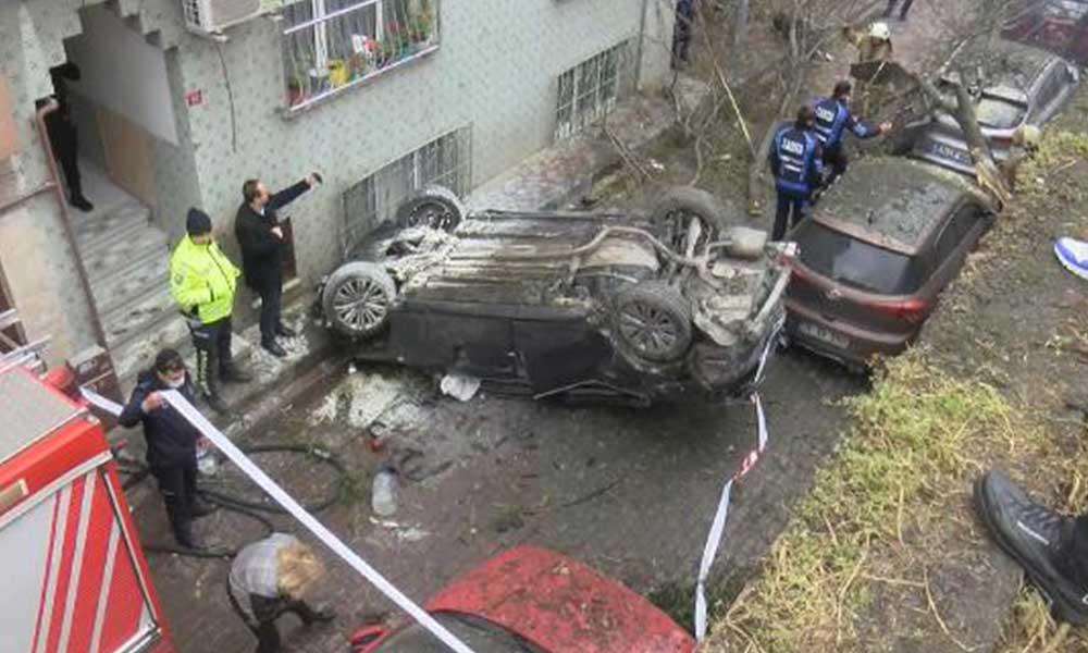"""Bayrampaşa'da """"makas"""" iddiası: Bariyeri parçalayıp 5 metre yükseklikten uçtu"""