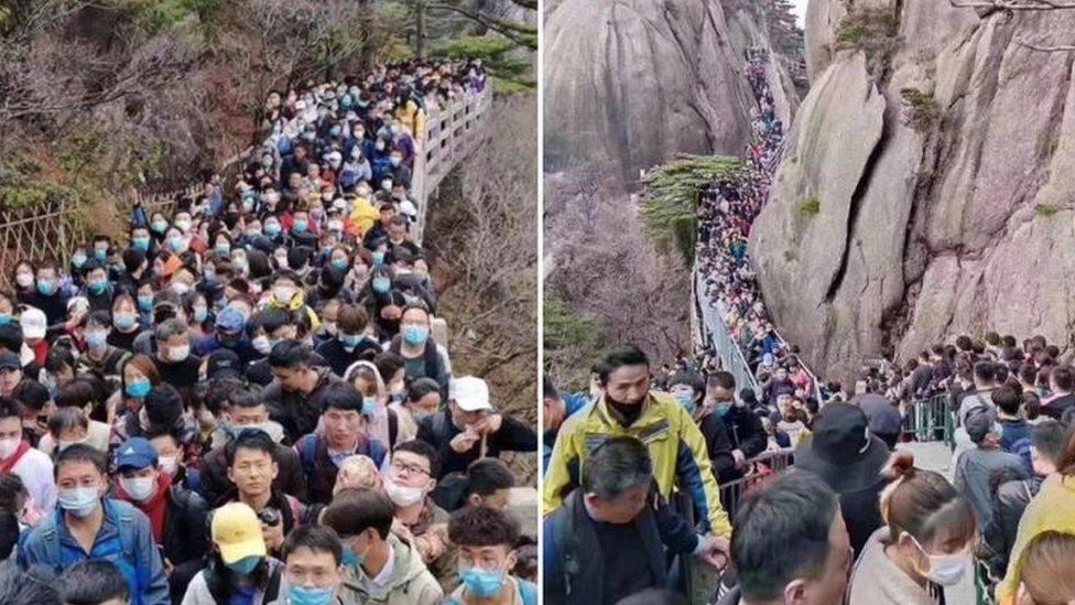 Çin'de koronavirüs tehlikesine rağmen on binlerce kişi parklara akın etti