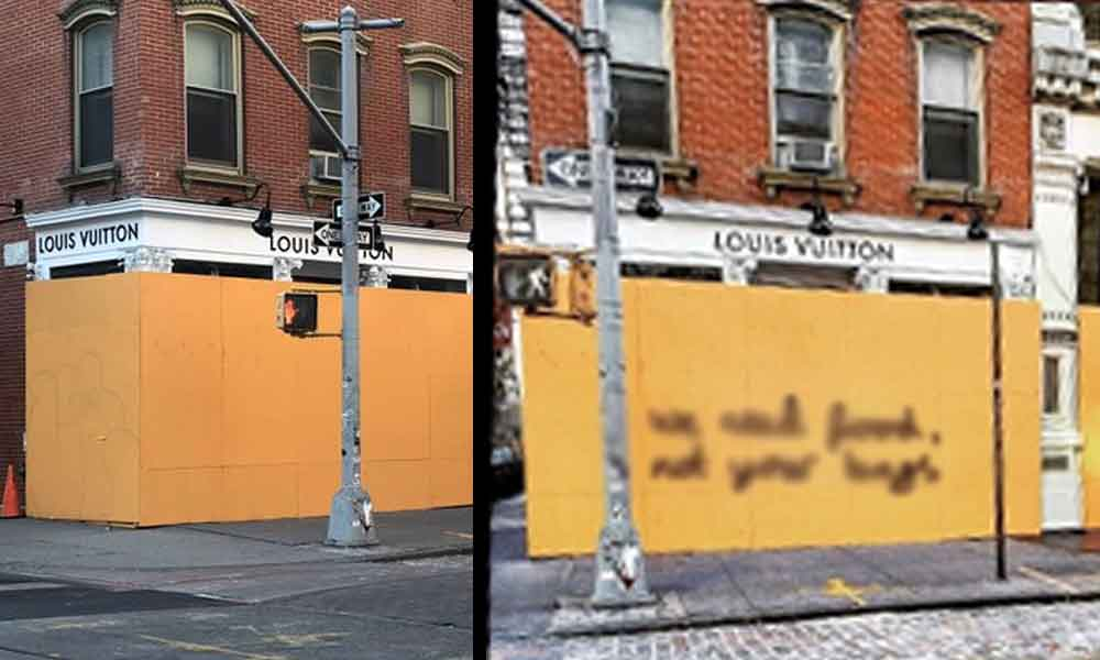 New York'taki mağazasını tahtayla kapatan Louıs Vuitton'a çok anlamlı cevap