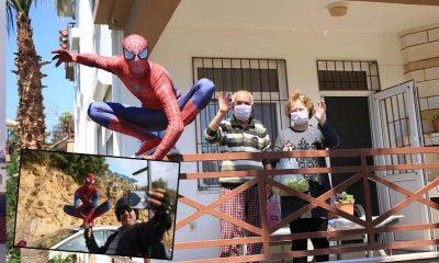 Evden çıkamayan vatandaşların alışverişlerini örümcek adam yaptı