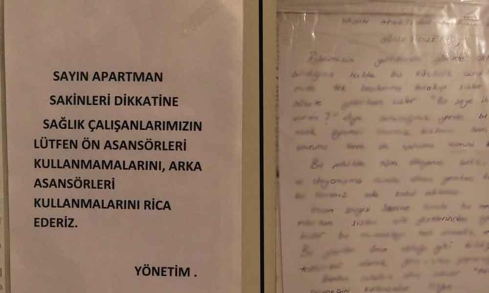 Utandıran yazı… Sağlıkçıların arka asansörü kullanmasını istediler