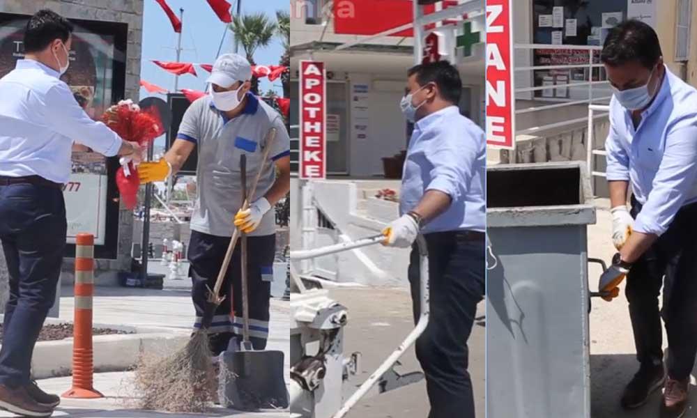 Belediye Başkanı işçilerle birlikte çöp konteyneri boşalttı, süpürge ile temizlik yaptı