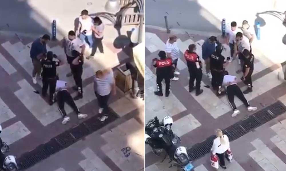 Maskesiz polisler, maske takmayan yurttaşı ters kelepçeyle gözaltına aldı