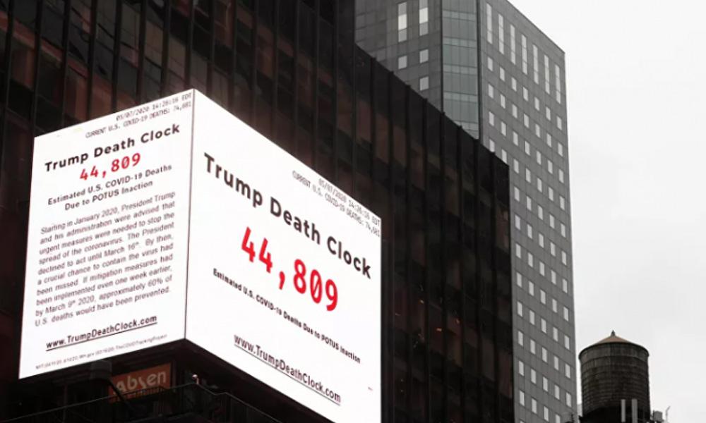 Times Meydanı'na 'Trump ölüm saati' panosu asıldı