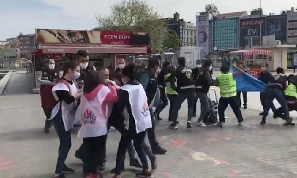 'İşçilere pandemi yok mu?' pankartına polis müdahalesi: Gözaltılar var