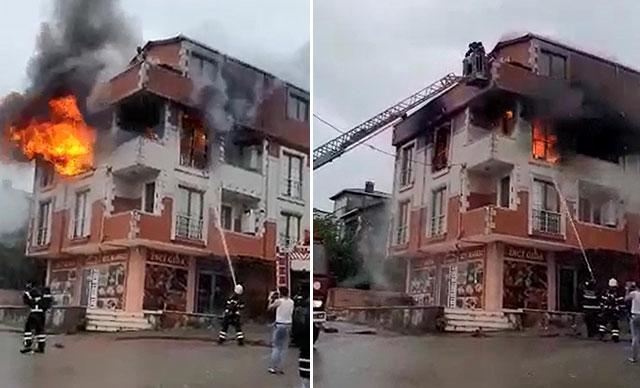 Yangında mahsur kalan 5 kişiyi itfaiye kurtardı