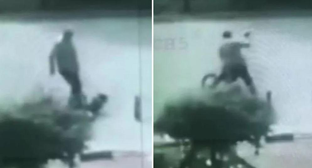 Sürücünün, 9 yaşındaki bisikletli çocuğu dövdüğü anlar kamerada