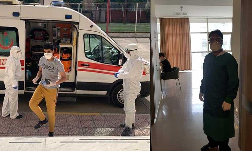 Kovid-19 taşıyan öğrenciler ambulanslarla sınav salonuna götürüldü
