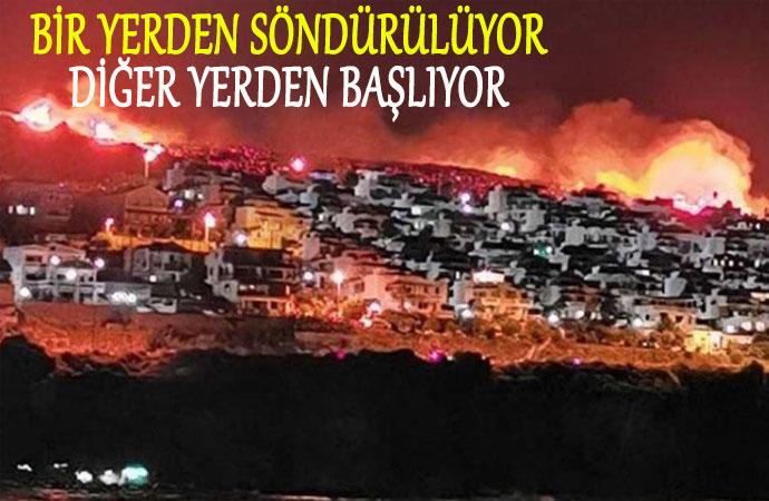 İzmir Karaburun alev alev