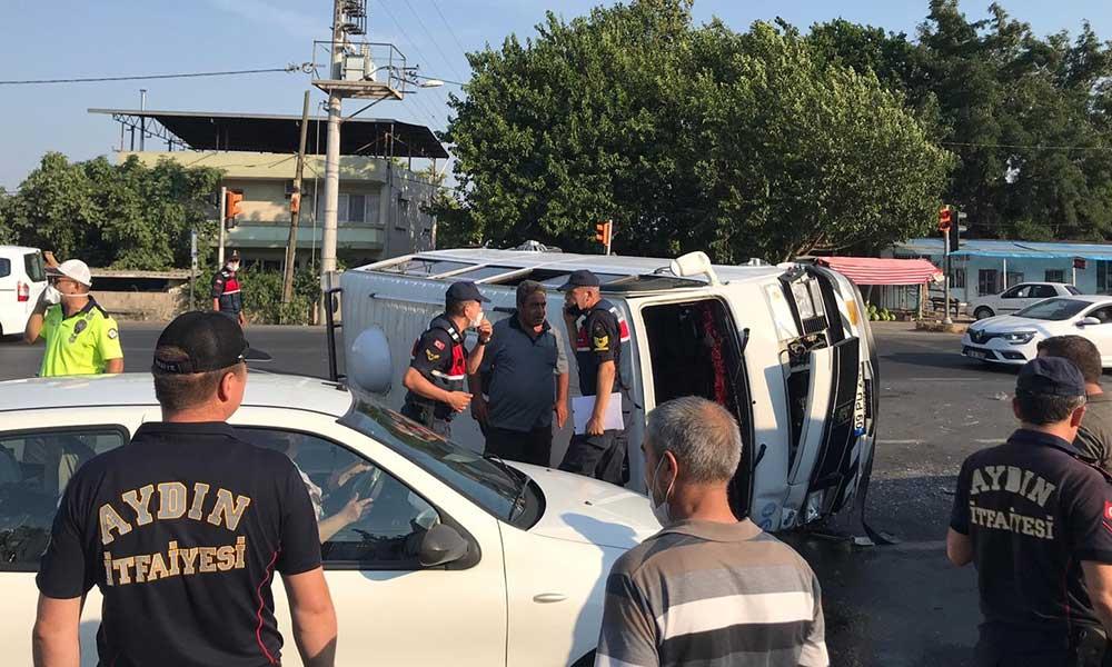 Aydın'da tarım işçilerini taşıyan minibüs devrildi: 11 yaralı