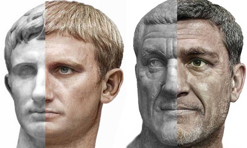 800 büstün görüntüsünü kullanarak, Roma İmparatorlarının portreleri oluşturuldu