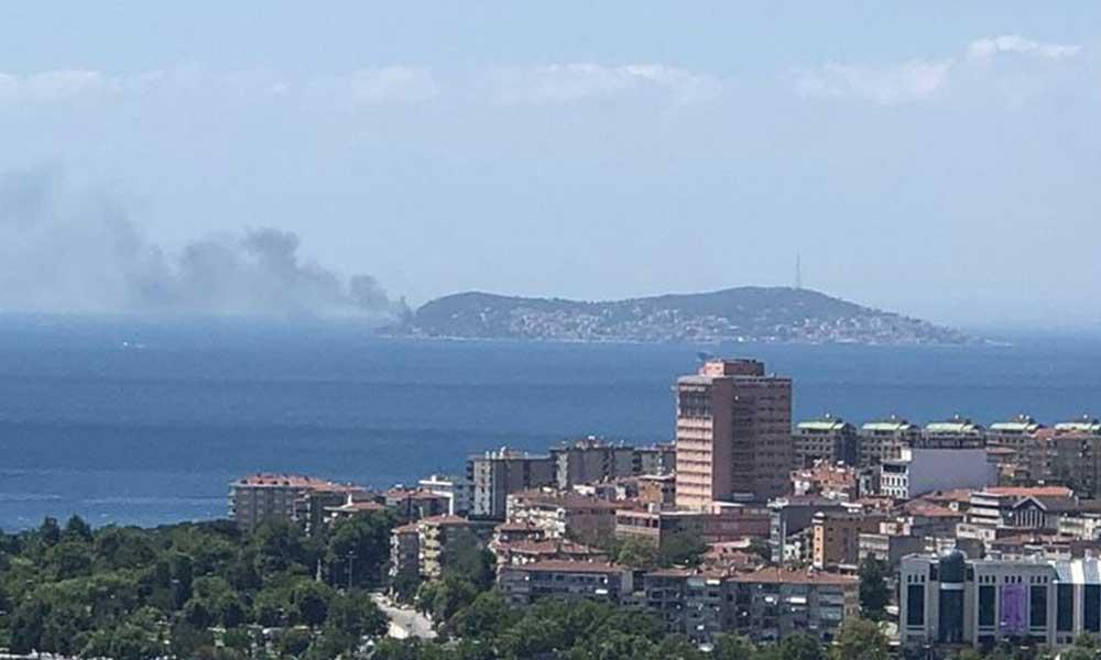 İstanbul Kınalıada'da korkutan yangın
