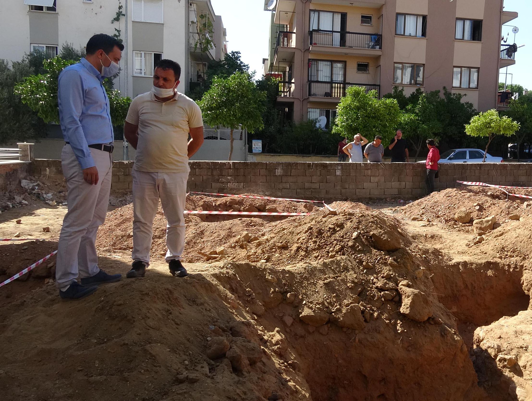 Aydın'da inşaat alanında 1600 yıllık sur duvarı bulundu