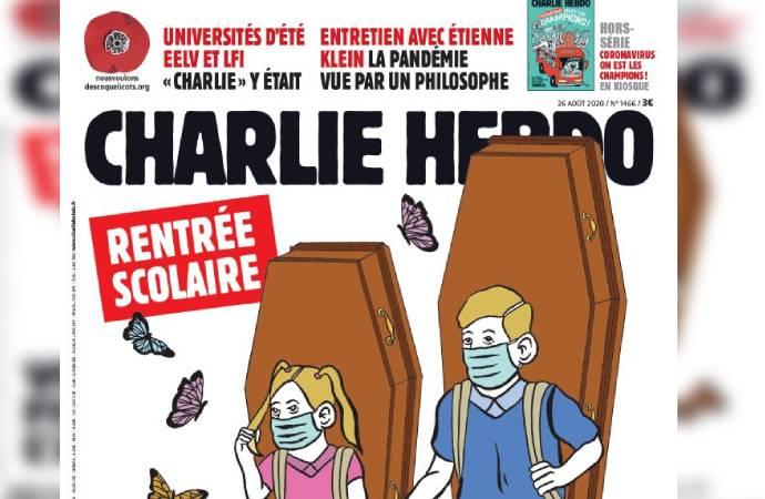 Fransa'da okulların açılmasına Charlie Hebdo'dan tabutlu tepki