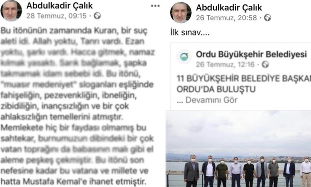 AKP'li belediye çalışanı Atatürk, İnönü ve muhalif siyasetçilere hakaret yağdırdı!