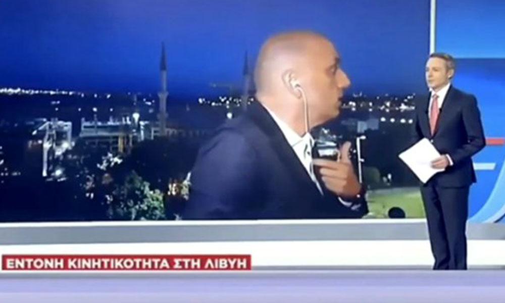 A haber muhabiri, Yunan televizyonuna konuşurken ortalık bir anda karıştı
