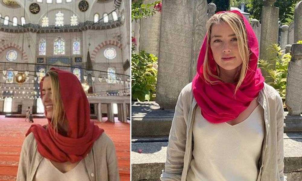 Amber Heard İstanbul'da camiye sutyensiz girdi… Sosyal medyada gündem oldu