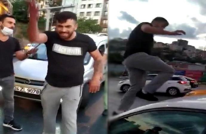 Trafikte kadına saldıran maganda tutuklandı!