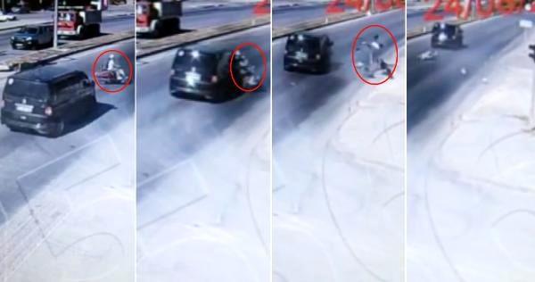 Öğretmenin, motosiklet kazasında hayatını kaybettiği anlar kameralara yansıdı