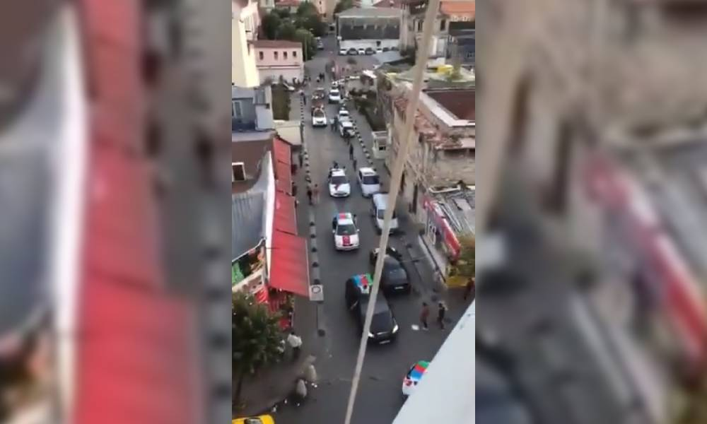 Ermeni Patrikhanesi yakınlarında Azerbaycan bayraklı provokasyon
