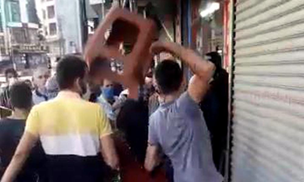 Sokak ortasında zabıtaya sandalyeli saldırı!