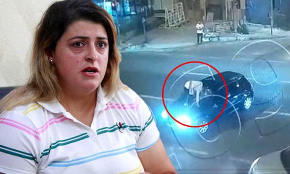 Kadın sürücüye dehşeti yaşattı! Kaput üstünde iki kilometre gitti
