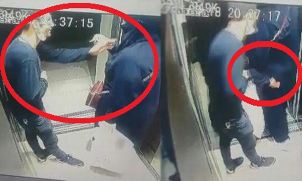 Rezalet! Asansördeki kadını taciz edip 'gel' işareti yaptı