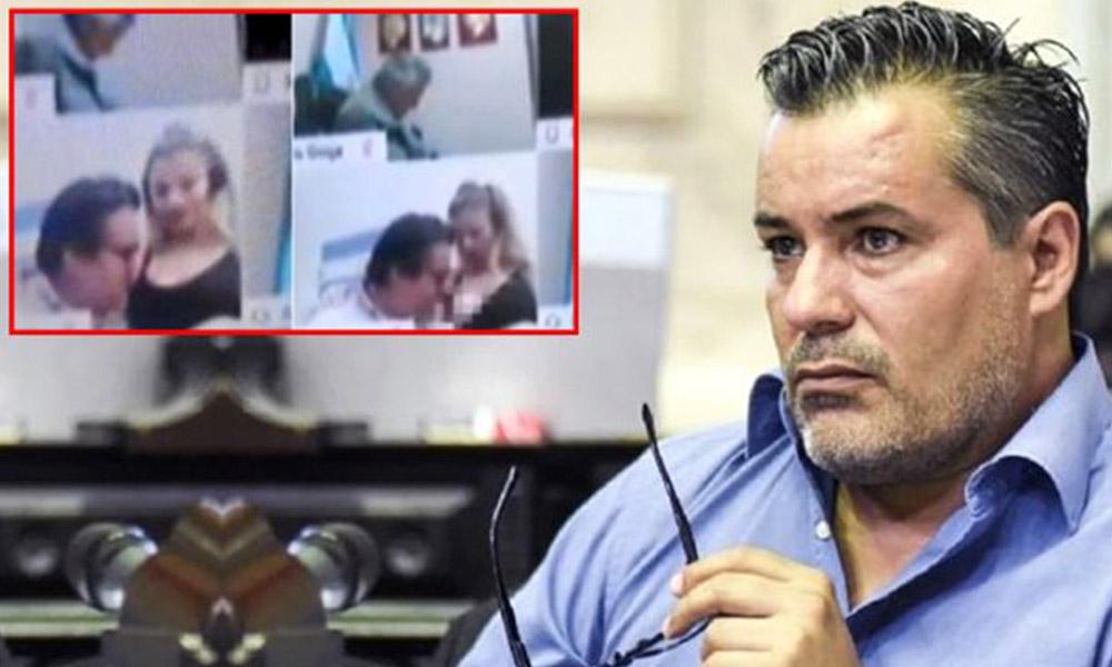 Kamerayı açık unutan milletvekili, danışmanını kucağına alıp göğsünü öptü!