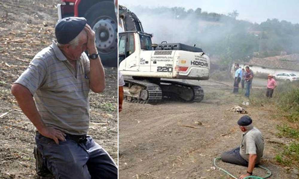 Ambardaki ürünleri küle döndü: Gözyaşları içerisinde kurtarılmasını bekledi