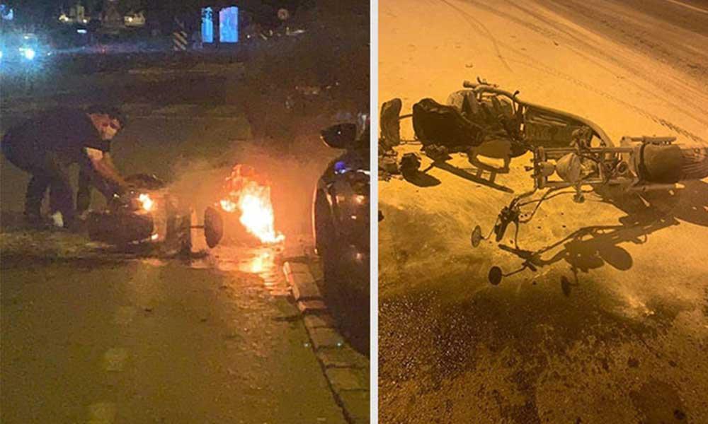 Elektrikli bisikletin yedek bataryası patladı: Sürücü son anda kurtuldu