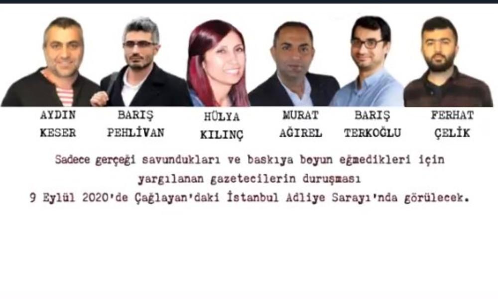 Tutuklu gazeteciler için dayanışma çağrısı: 9 Eylül'de Çağlayan'da!