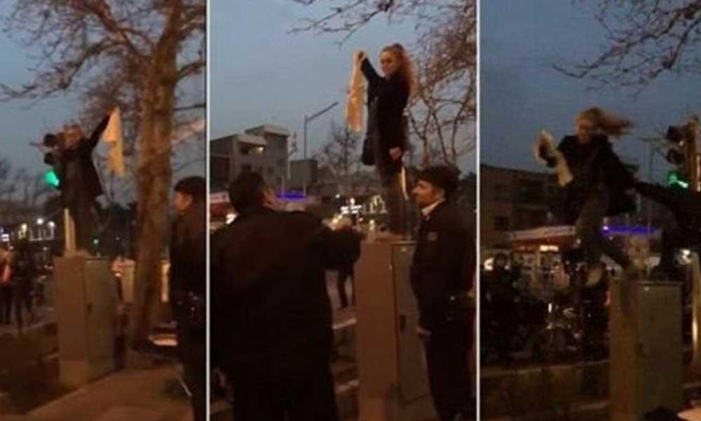 İran'da zorunlu türbanı protesto ettiği için hakkında hapis cezası olan Meryem Şerietmedari, Denizli'de gözaltına alındı iddiası