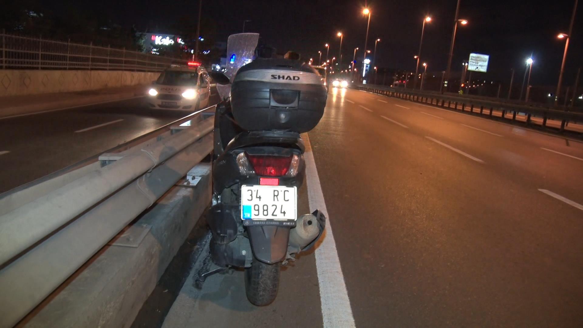 İki bariyer arasına fırlayan motosiklet sürücüsü ölümden döndü