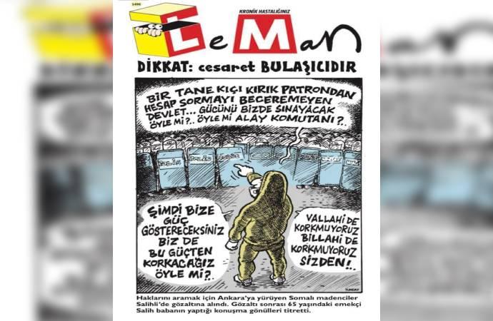 """Leman Somalı madencinin sözlerini kapağına taşıdı; """"Öyle mi alay komutanı?"""""""