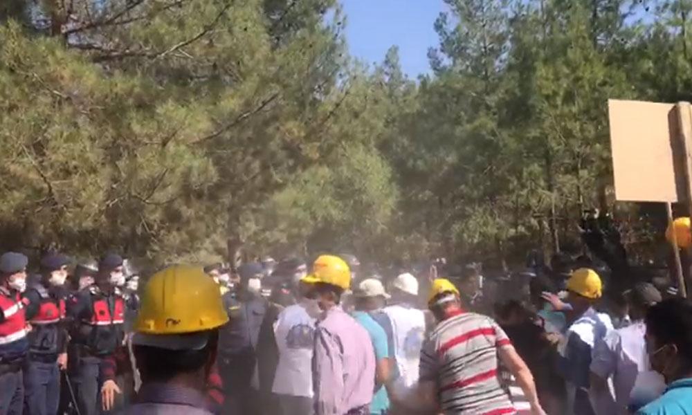 Ankara'ya yürümek isteyen Soma madencilerine plastik mermi ve biber gazı ile müdahale