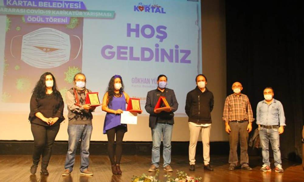 Uluslararası Covid-19 Karikatür Yarışmasında dereceye girenlere ödülleri verildi