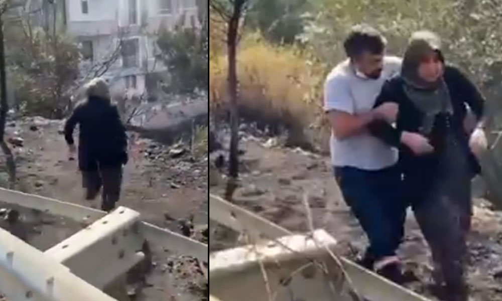 Evinin yandığını gören kadının yürek burkan görüntüsü